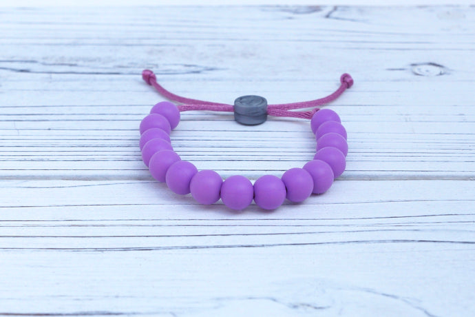 purple adjustable silicone bead bracelet