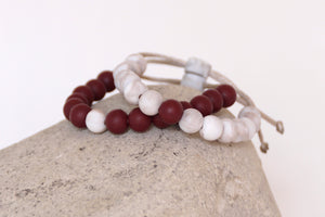Set of 2 burgundy and brown marble adjustable silicone bead bracelets