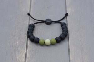 Black and army green ombre adjustable silicone bead bracelet