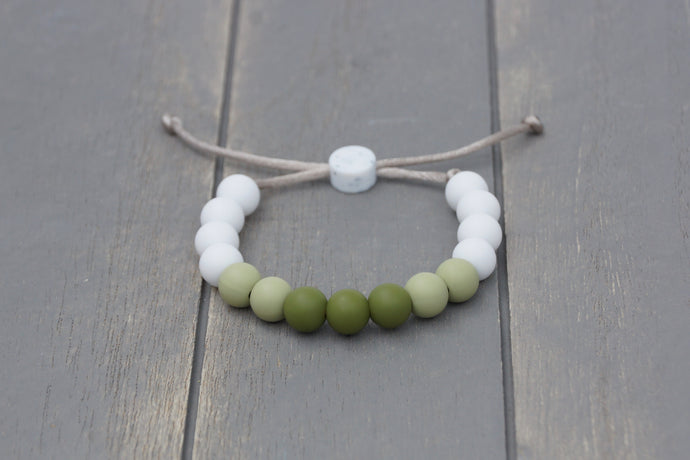 Army green ombre adjustable silicone bead bracelet