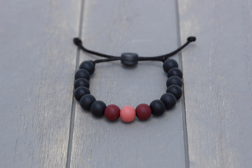 black and Burgundy ombre adjustable silicone bead bracelet