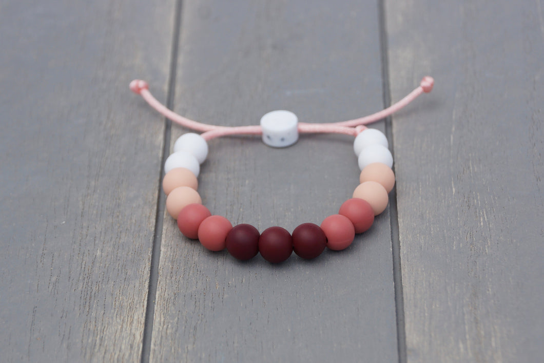rose ombre adjustable silicone bead bracelet