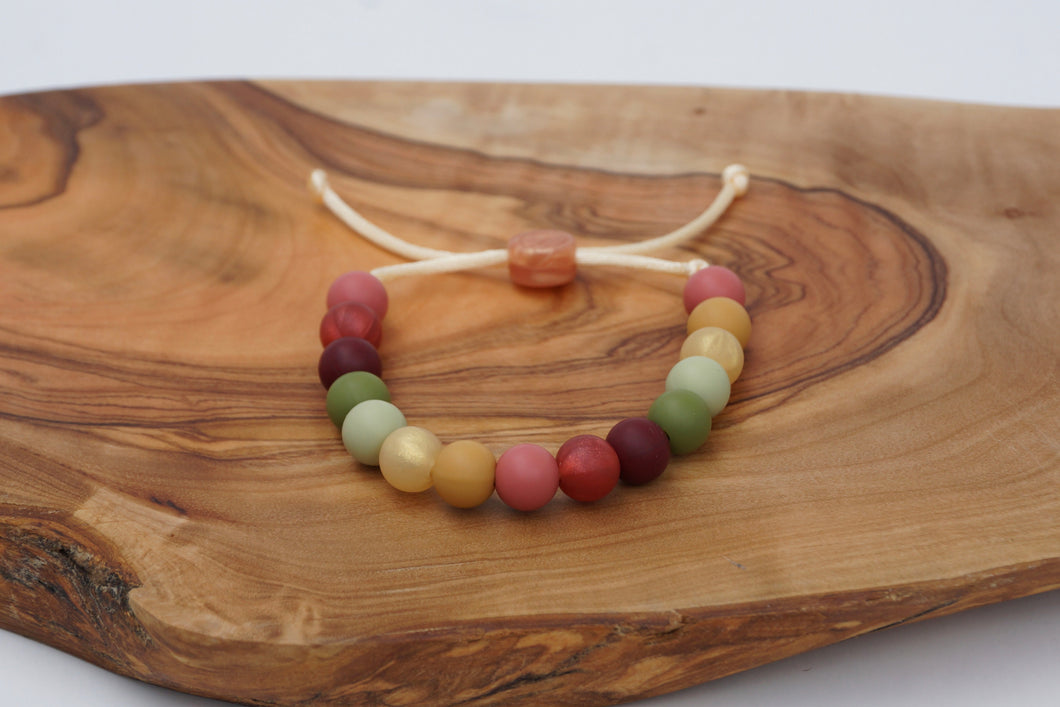 Fall colours adjustable silicone bead bracelet