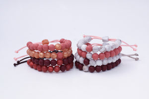 Fall colours adjustable silicone bead bracelet stacks