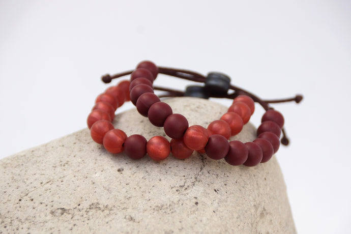 Burgundy and metallic red adjustable silicone bead bracelet set