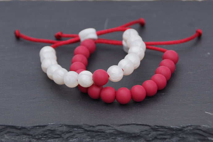 Set of 2 Pearl and cranberry adjustable silicone bead bracelets