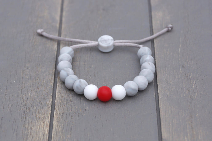 Grey marble with red and white beads adjustable silicone bracelet