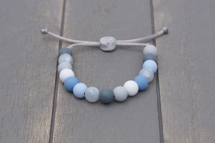blue and grey winter colours adjustable silicone bead bracelet