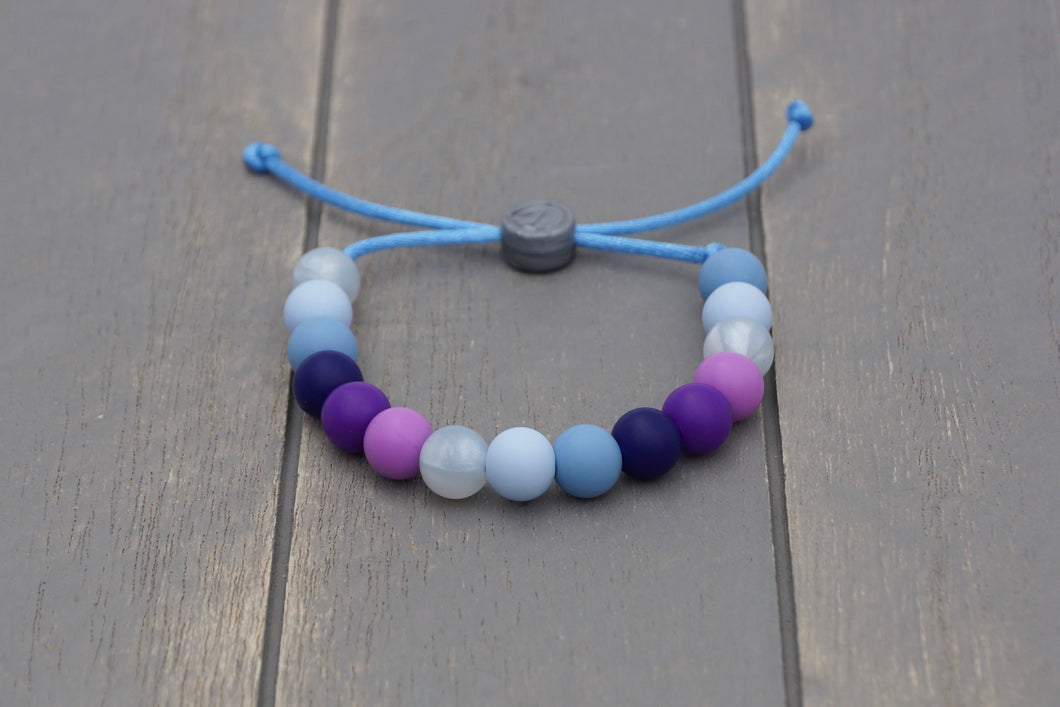 blue and purple winter colours adjustable silicone bead bracelet