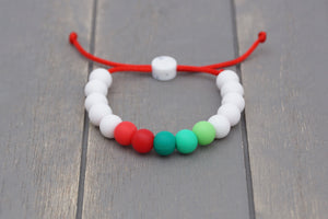 Christmas colours with white adjustable silicone bead bracelet
