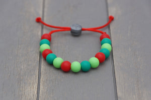 Christmas colours adjustable silicone bead bracelet