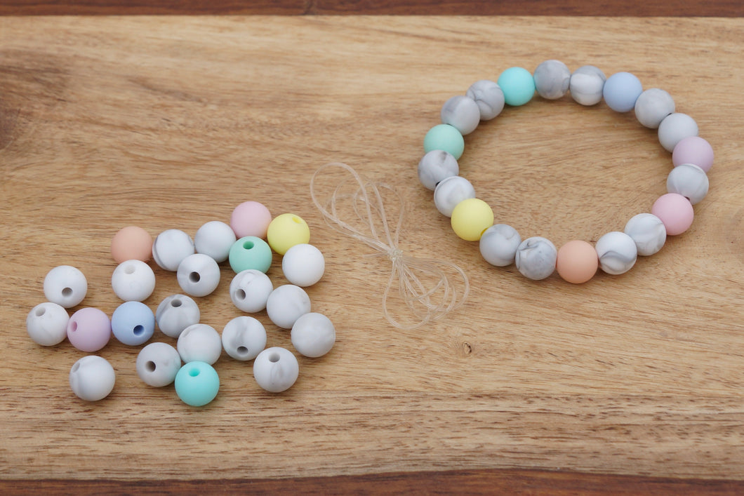 pastel  and marble silicone bead bracelet kit