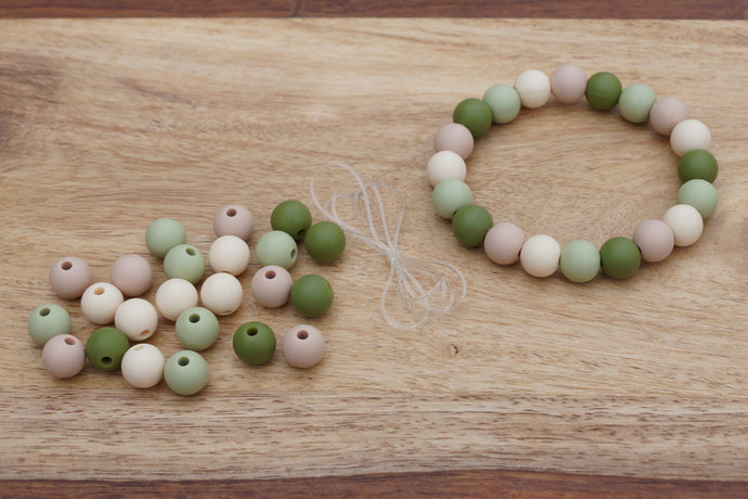 natural colours silicone bead bracelet kit