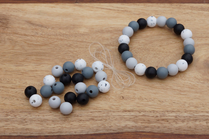 stone coloured silicone bead bracelet kit