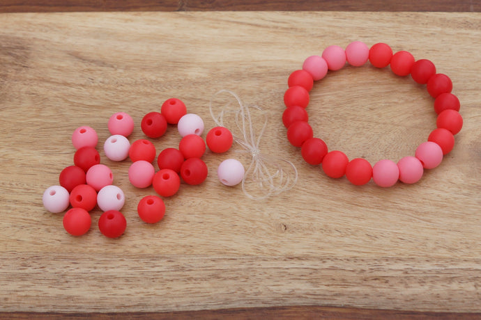 red ombre silicone bead bracelet kit