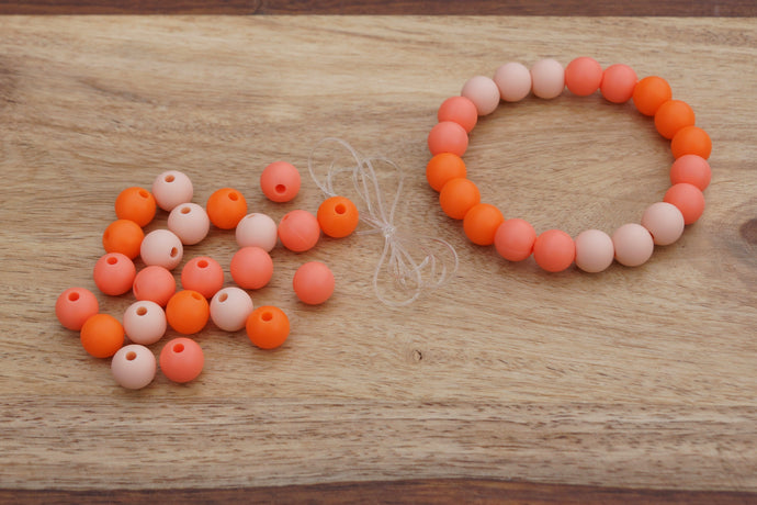 orange ombre silicone bead bracelet kit