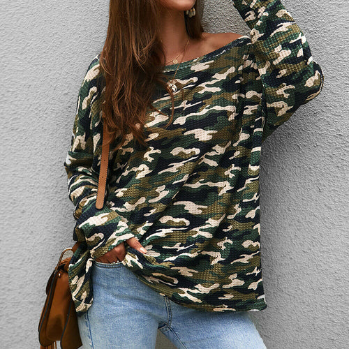Camouflage One Shoulder Top