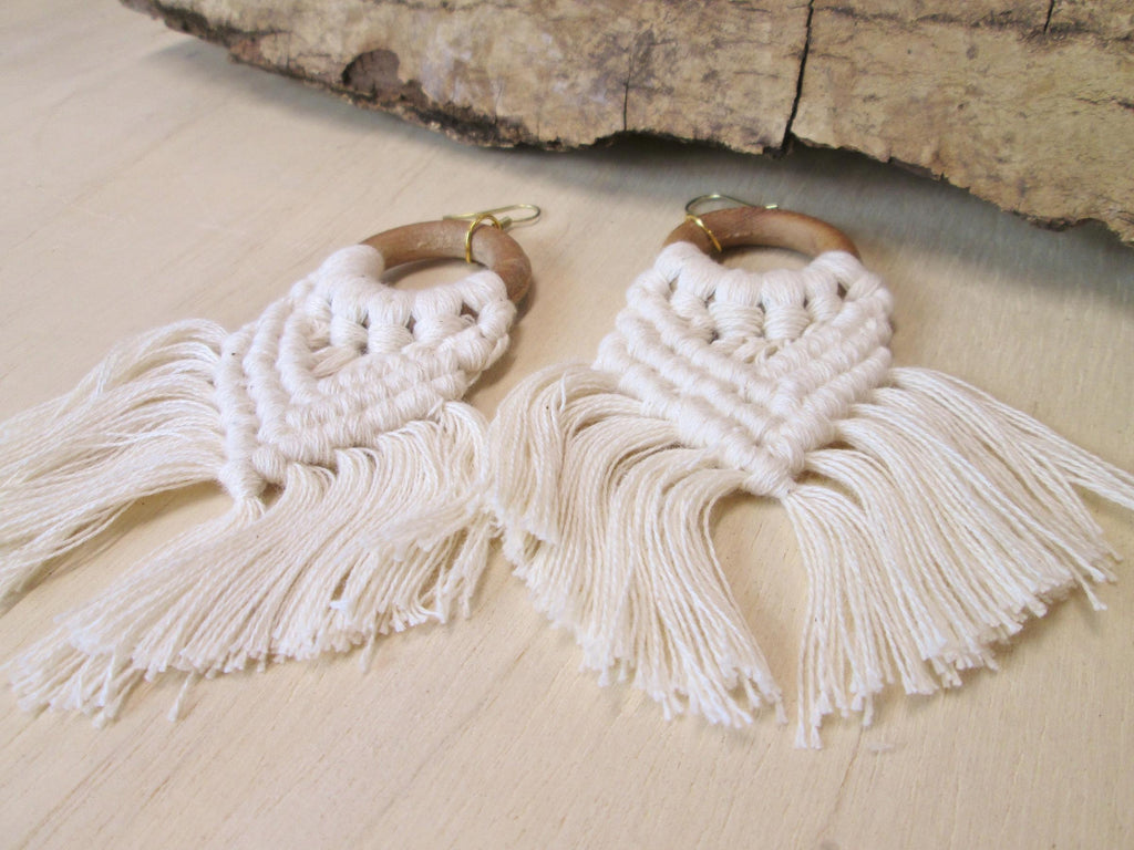 Wood Ring Macrame Earrings