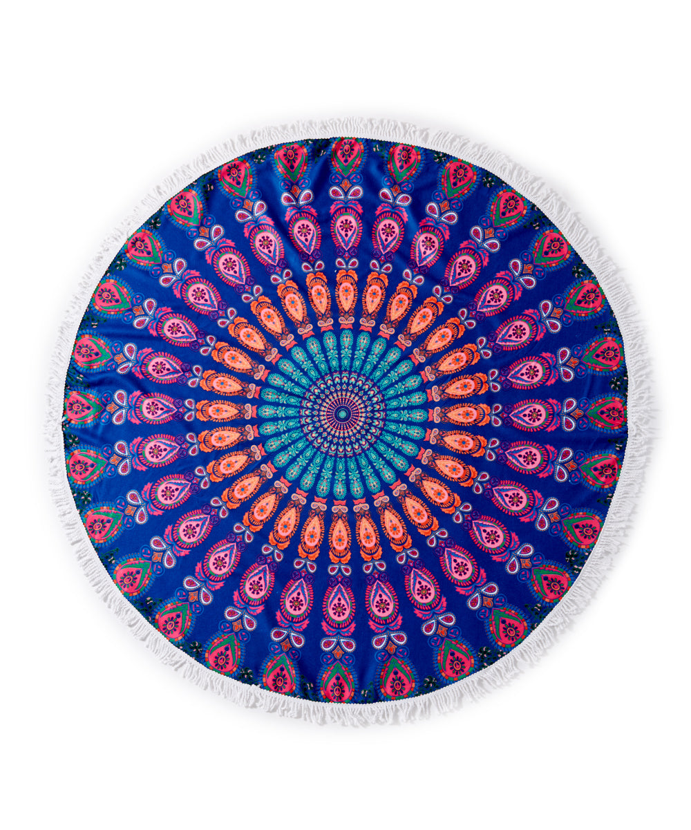 Geometric Round Fringe Beach Towel