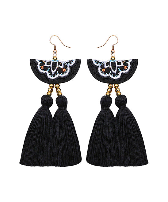 Bead-Embroidered Tassel Drop Earrings