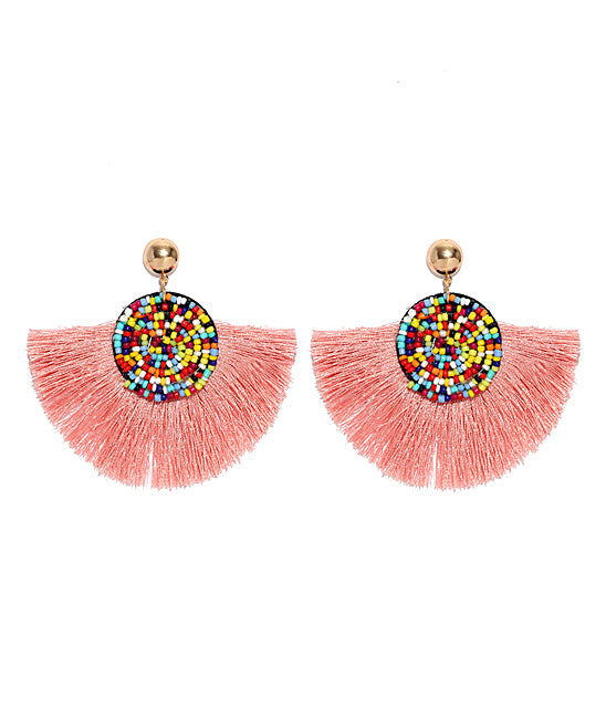 Beaded Fan-Tassel Drop Earrings