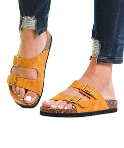 Faux Suede Buckle Boardwalk Slide