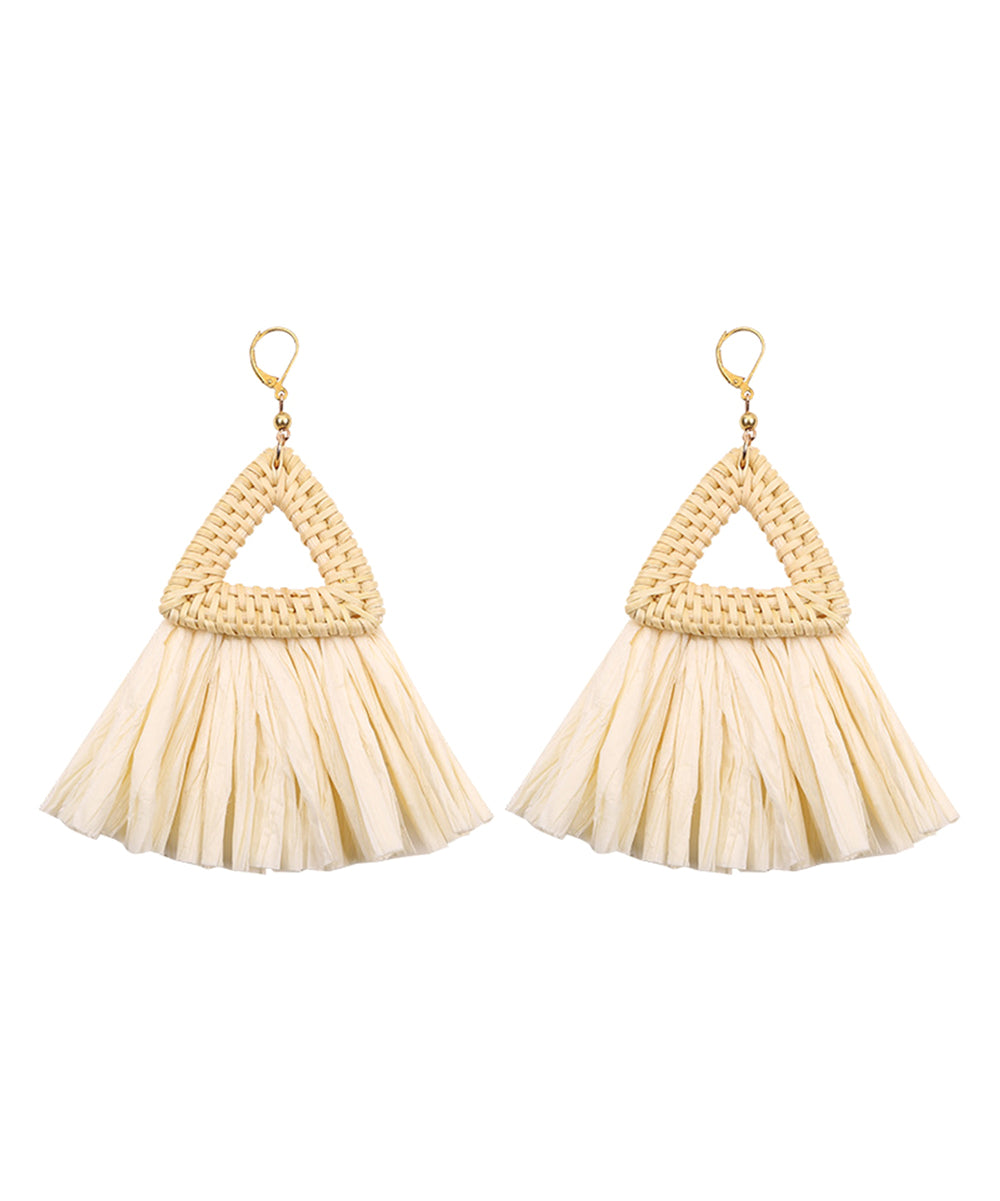 Triangle Straw-Tassel Drop Earrings