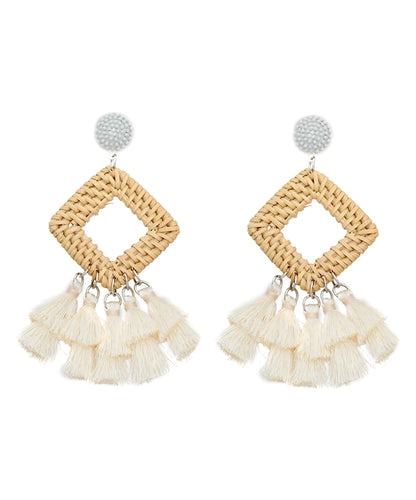 Tassel & Straw Square Drop Earrings