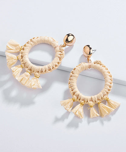 Straw & Shell Hoop Earrings