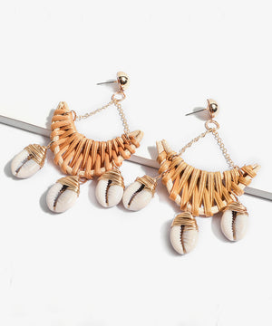 Straw & Shell Drop Earrings