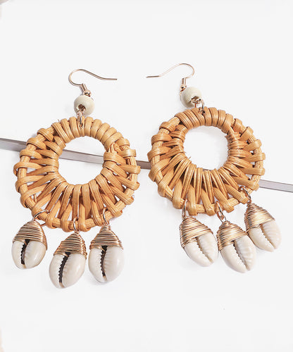 Straw & Shell Circle Drop Earrings