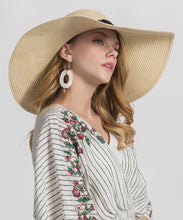 Load image into Gallery viewer, 'Greetings From' Embroidered Wide Straw Sunhat