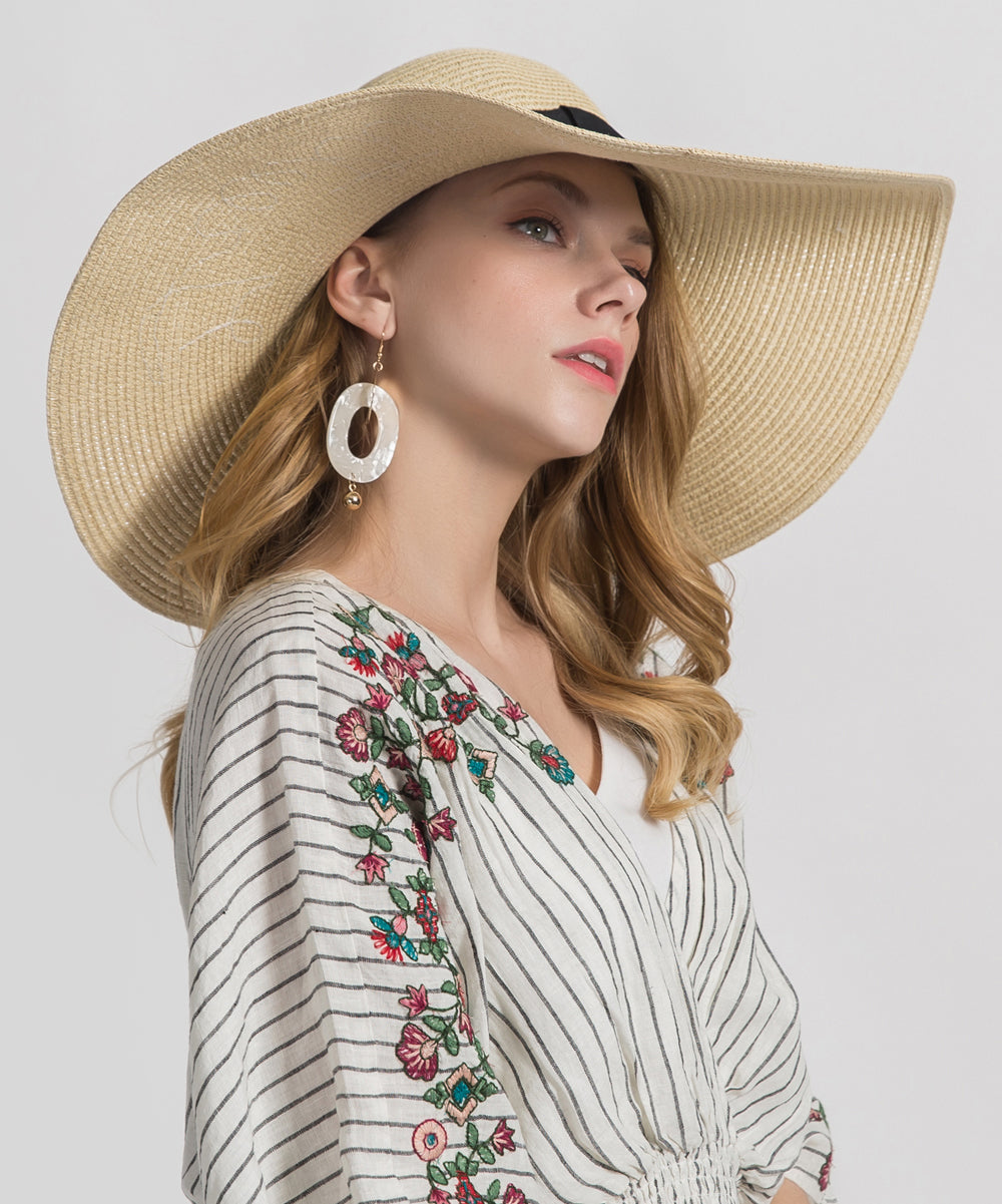 'Greetings From' Embroidered Wide Straw Sunhat