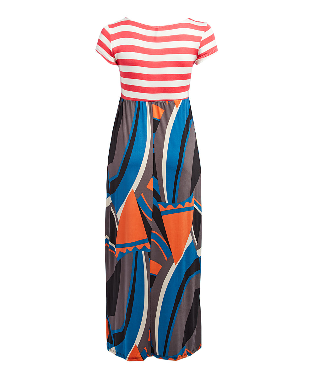 Stripe Abstract Maxi Dress (Plus Size)