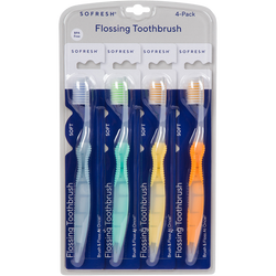 Adult Flossing Toothbrush 4-Pack