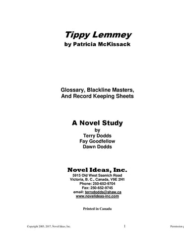 2034.03-BLMTL Tippy Lemmey (by Patricia McKissack) Blackline Masters (2017 Edition)*