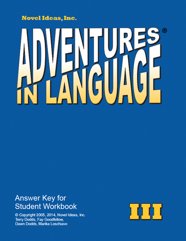 1018-3AK Adventures in Language Level III (2014 Edition) - Answer Key Workbook*