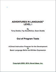 1003-1OPT Adventures in Language I (2014 Edition) - Out of Program Test Blackline Masters