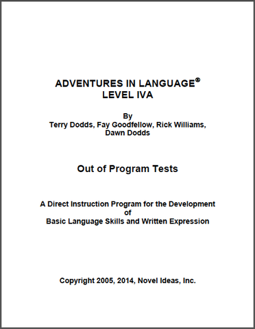 1021-4A OPT Adventures in Language Level IVA (2014 Edition) - Out of Program Test Blackline Masters