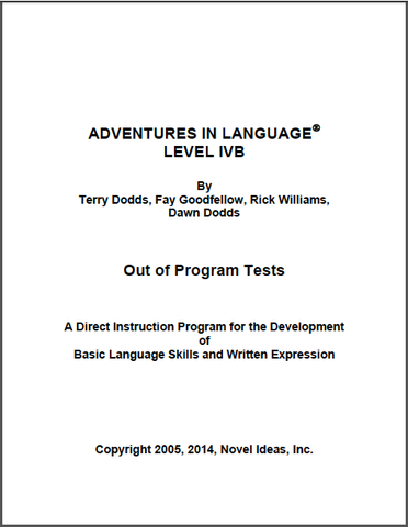 1027-4B OPT Adventures in Language Level IVB - Out of Program Test Blackline Masters