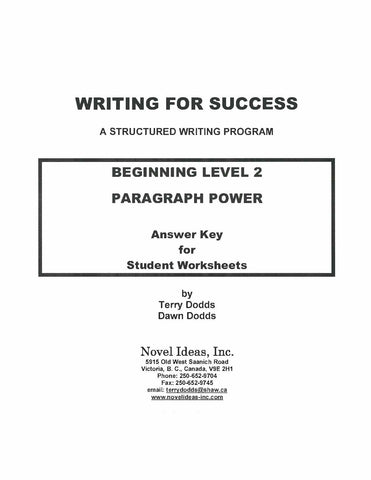 9002-3 WFSB2AK Writing for success: Beginning Level 2--Paragraph Power Answer Key (Downloadable)