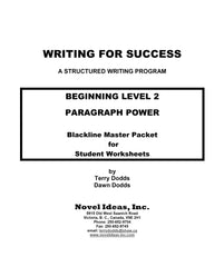 9002-2 WFSB2BLM Writing for success: Beginning Level 2--Paragraph Power Black Line Masters