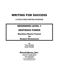 9001-2 WFSB1BLM Writing for Success: Beginning Level 1--Sentence Power Blackline Masters