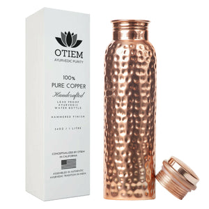 Otiem Hammered Ayurvedic 100% Pure Copper Water Bottle  - 1 Litre (34 Oz) Leak Proof (Handcrafted)