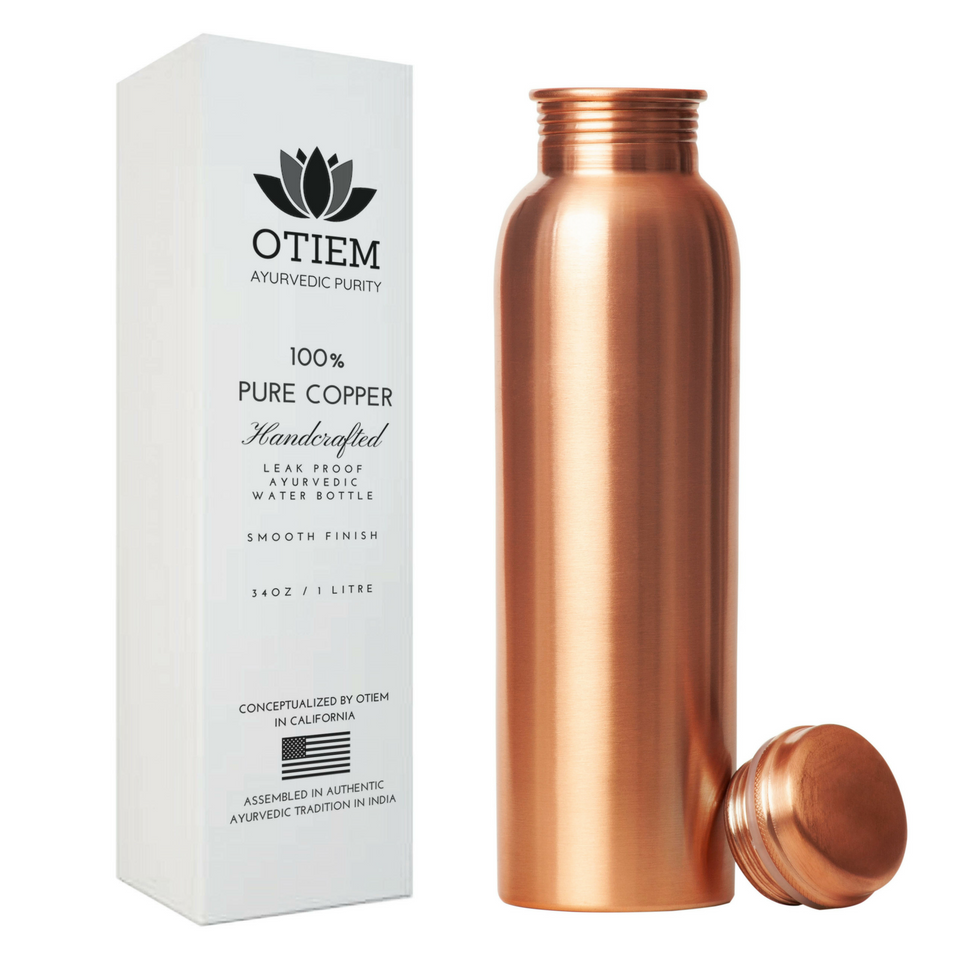 Otiem Smooth Ayurvedic 100% Pure Copper Water Bottle  - 1 Litre (34 Oz) Leak Proof (Handcrafted)