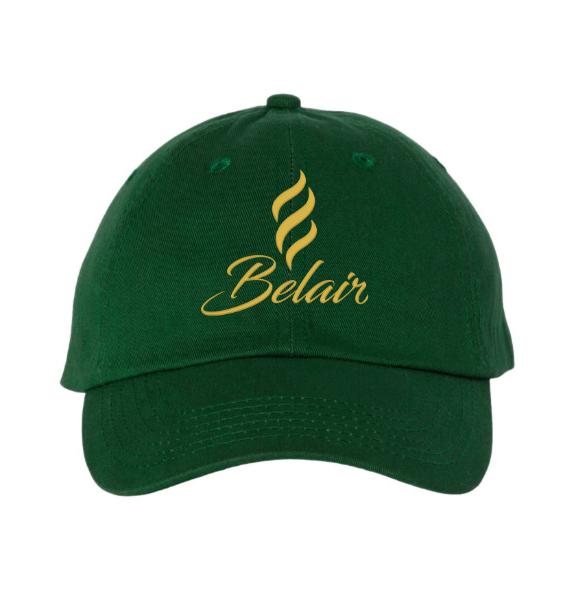 Belair Green Color Logo Design Classic Chino Cap Hat