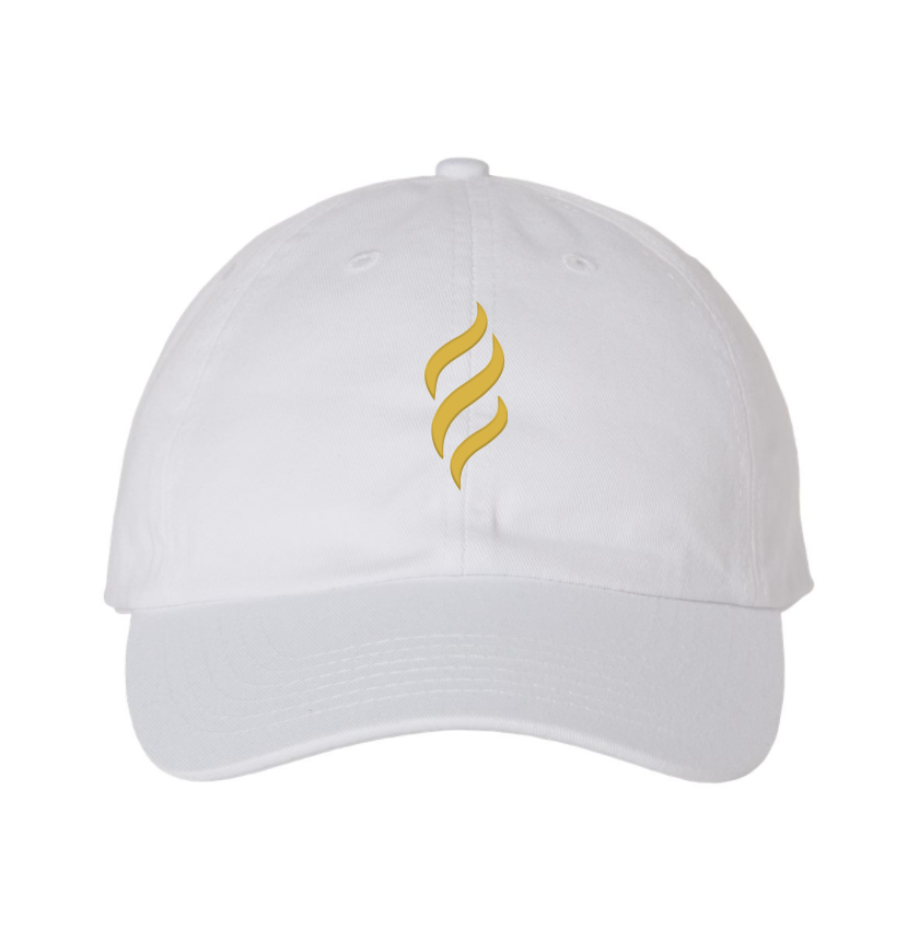 Belair White Color Flame Logo Design Classic Chino Cap Hat