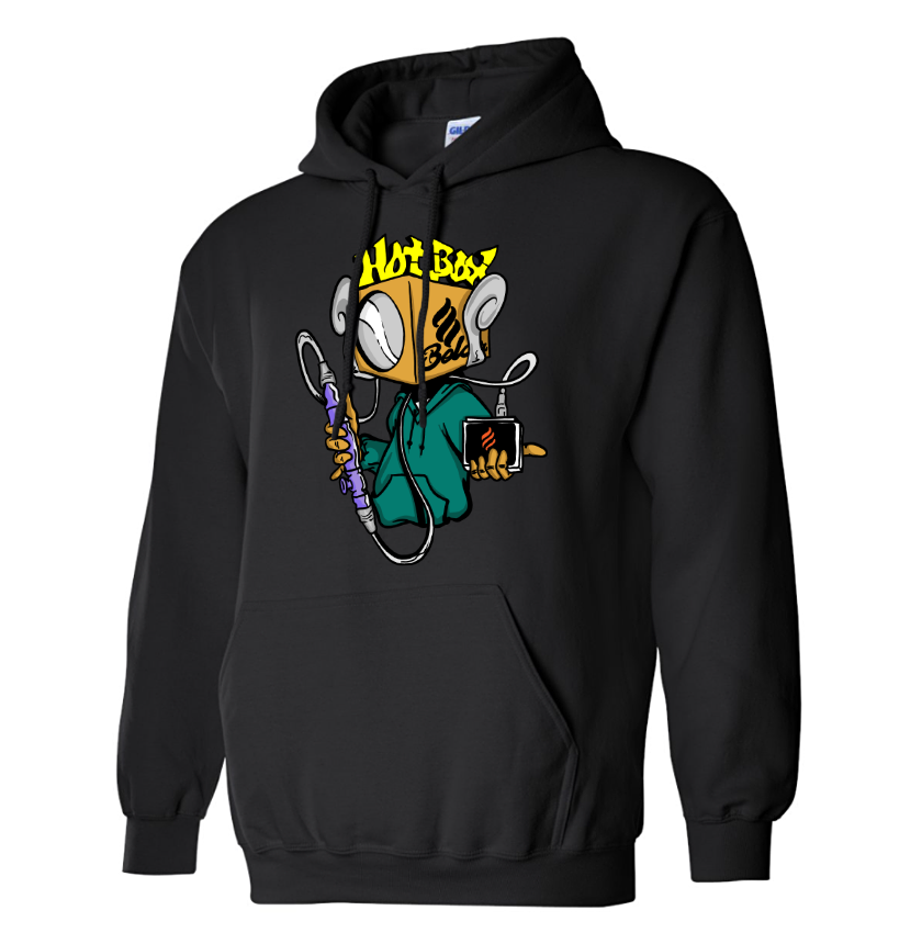 Belair Black Color HotBox Design Unisex Hooded Sweatshirt