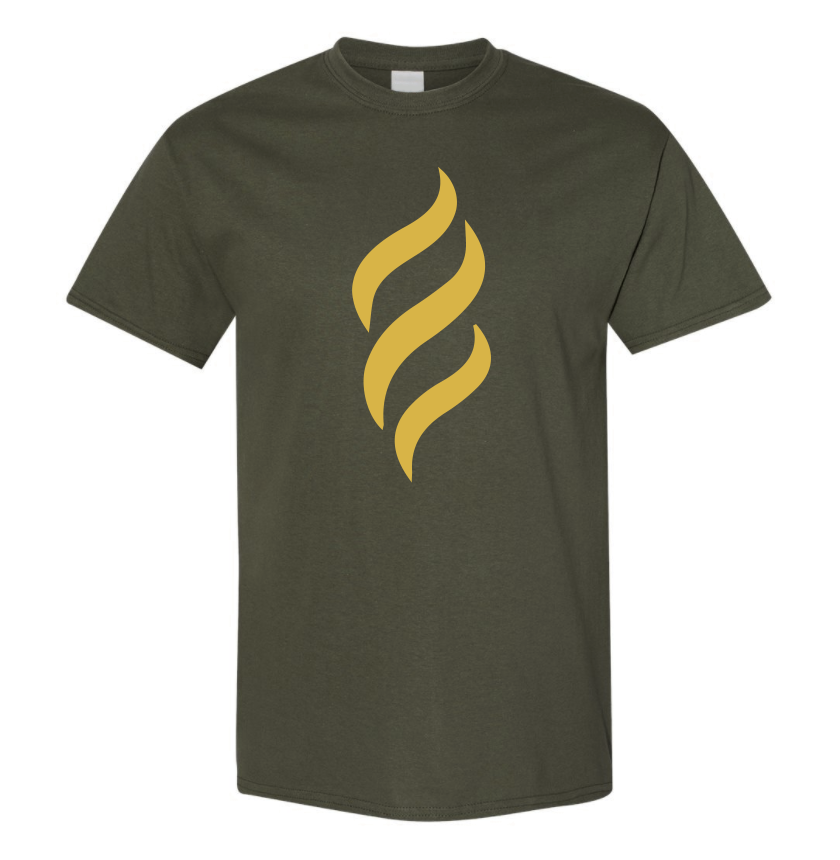Belair Green Color Flame Design Unisex Cotton T-Shirt
