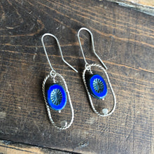 Load image into Gallery viewer, Wise Owl Indigo Blue Czech Glass Earrings